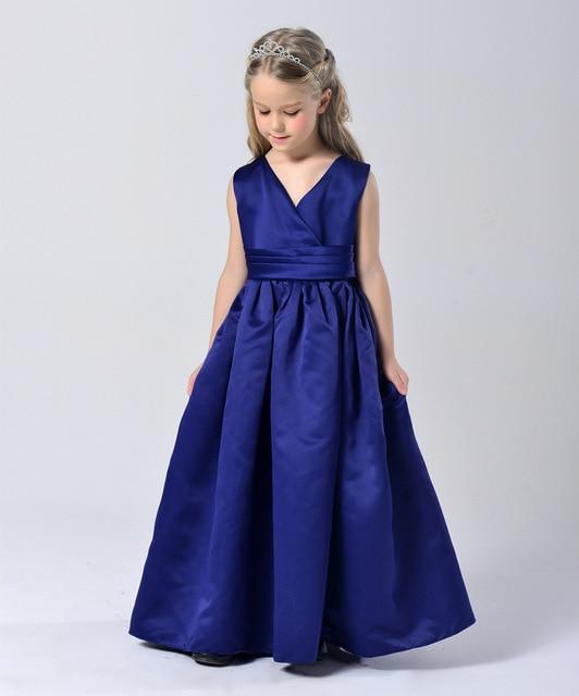 Fashion Elegant Sapphire Blue Wedding Party Kid Girls Formal Dresses