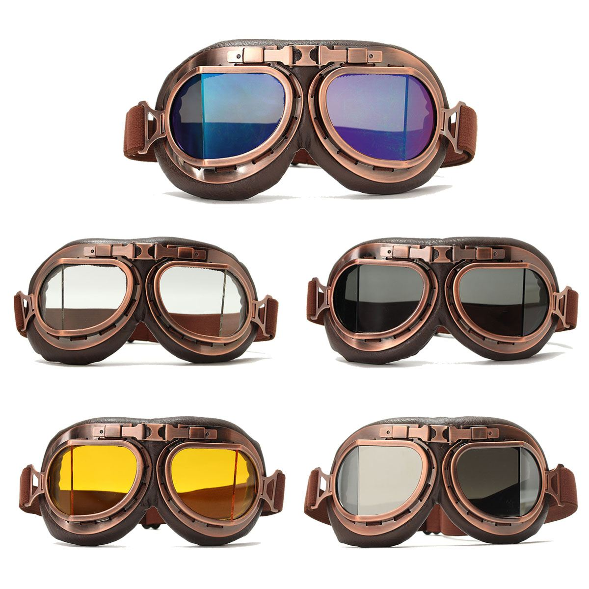 Windproof Vintage Motocycle Cycling Bike Goggles Retro Riding Glasses Motorbike Helmet Glasses Eyewear For Harley Cafe Racer