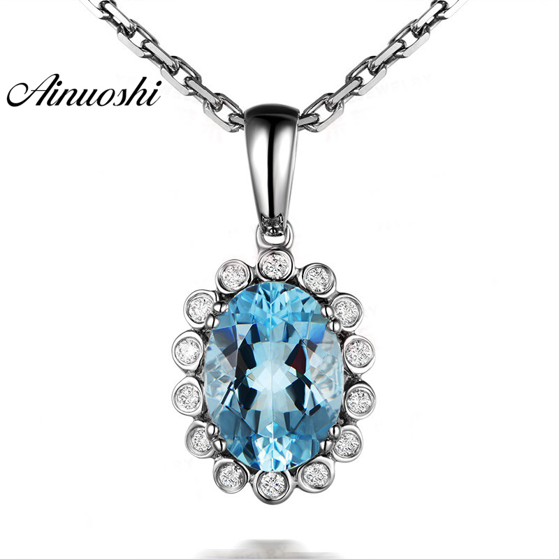 AINUOSHI 925 Sterling Silver Topaz Halo Pendant Necklace 1.5ct Oval Cut Natural Sky Blue Topaz Link Chain Jewelry Gift for womanAINUOSHI 925 Sterling Silver Topaz Halo Pendant Necklace 1.5ct Oval Cut Natural Sky Blue Topaz Link Chain Jewelry Gift for woman