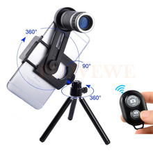 Buy online Phone Lentes Kit 8X Lens Zoom Telephoto Lenses Telescope With Clips Tripod Bluetooth Remote Control For iPhone 5 5C 5S SE 6 6S 7