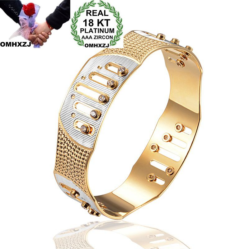 OMHXZJ Wholesale Personality Fashion OL Woman Girl Party Gift Silver Gold Geometric Hollow 18KT Gold Cuff Bangle Bracelet BR204OMHXZJ Wholesale Personality Fashion OL Woman Girl Party Gift Silver Gold Geometric Hollow 18KT Gold Cuff Bangle Bracelet BR204