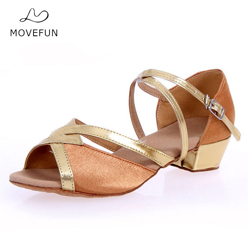 MoveFun New Girls Ballroom Party Dance Shoe Latin Sko Kvinner Low Heel Dancing Sandals Kvinne Salsa Zapatos de Baile Størrelse 24-40