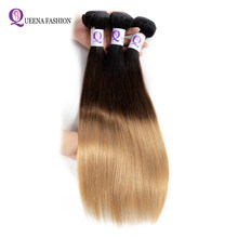 Pre-colored Ombre Hair Bundles 1B/4/27 Three Tone Color Ombre Cambodian Straight Human Hair Weave Double Weft 3 Bundles Deal(China)