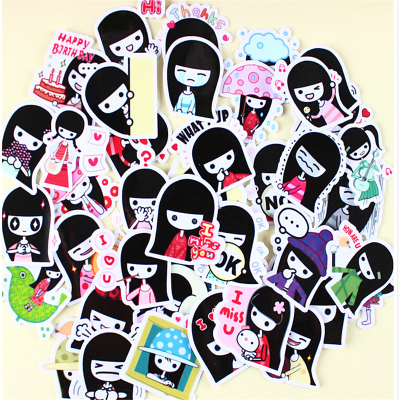 40pcs Creative Cute Self-made Sweet little girlScrapbooking Stickers /Decorative Sticker /DIY Craft Photo Albums/trunk sticker 14pcs creative kawaii lovely cute self made victoria rabbit animal stickers trolley case computer notebook stickers luggage
