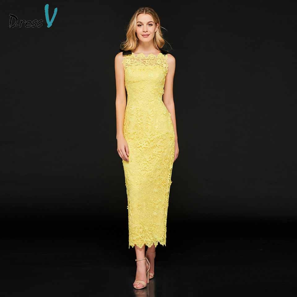 Dressv Bright Yellow Cocktail Dress Elegant Sheath Lace Zipper Up Tea Length Wedding Party Formal Dress Cocktail Dresses