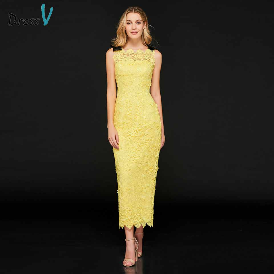Dressv bright yellow cocktail dress elegant sheath lace zipper up tea length wedding party formal dress cocktail dresses