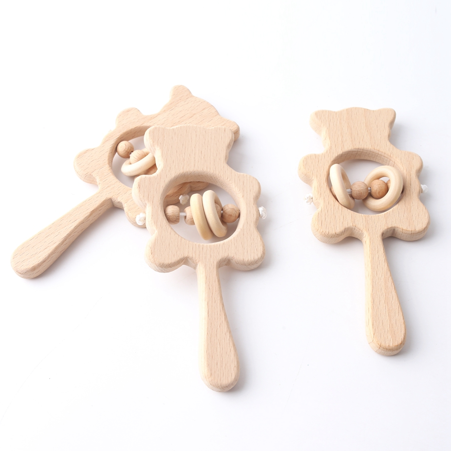 Let's Make 1PC Beech Wooden Rattle Baby Teethers Can Chew Wood Montessori Toys Best Baby Shower Toy DIY Accessories Teether