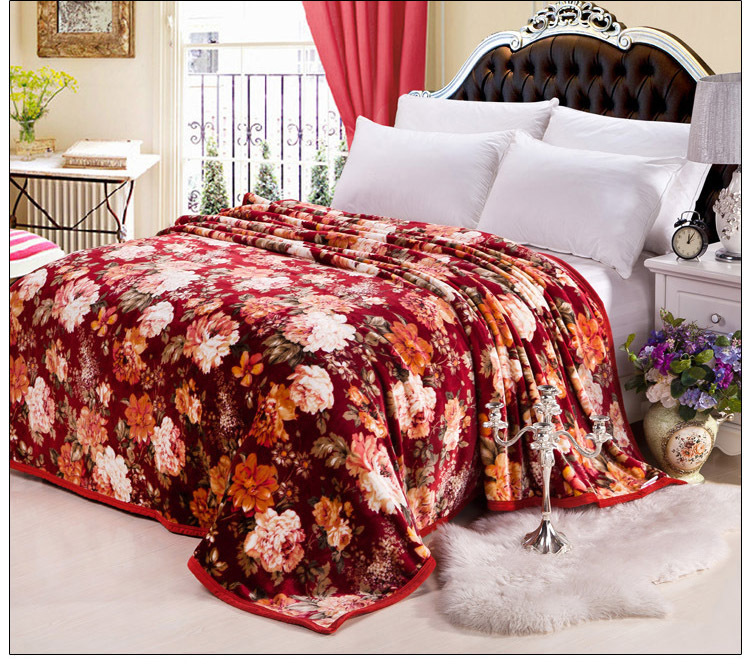 new luxury floral design throw fleece blankets thick flannel blanket