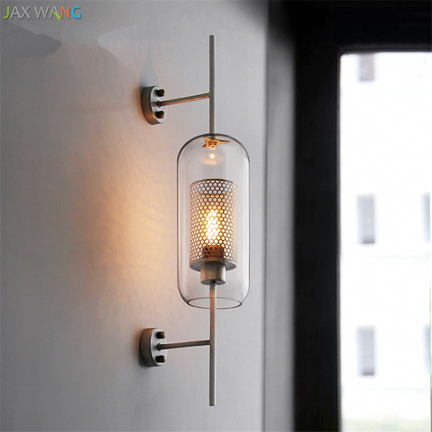 Lights & Lighting Led Indoor Wall Lamps Modern Clear Glass Shade Scones Wall Lamps For Bedroom Bedsides Restaurant Study Hanging Lights Loft Retro Iron Net Fixture