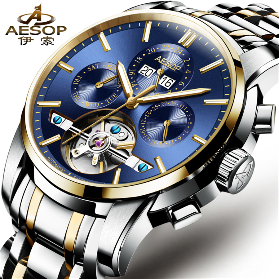 AESOP Mens Watches Top Brand Luxury Automatic Mechanical Watch Men Full Steel Business Tourbillon Watch Relogio Masculino 2018 relogio masculino guanqin brand luxury men business tourbillon skeleton watches full steel waterproof automatic mechanical watch