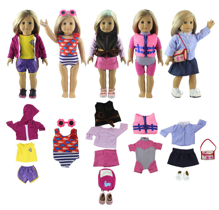 New Style 5 Set Doll Clothes for 18 Inch American Girl Handsome Casual Wear Outfit new style 10 set doll clothes for 18 inch american girl handmade casual wear