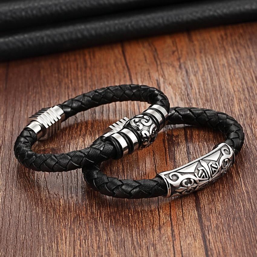 XQNI Stainless Steel Genuine Leather Bracelets for women men Magnet clasps 19/21cm size Choose Bohemia Leather Bracelets Ladies
