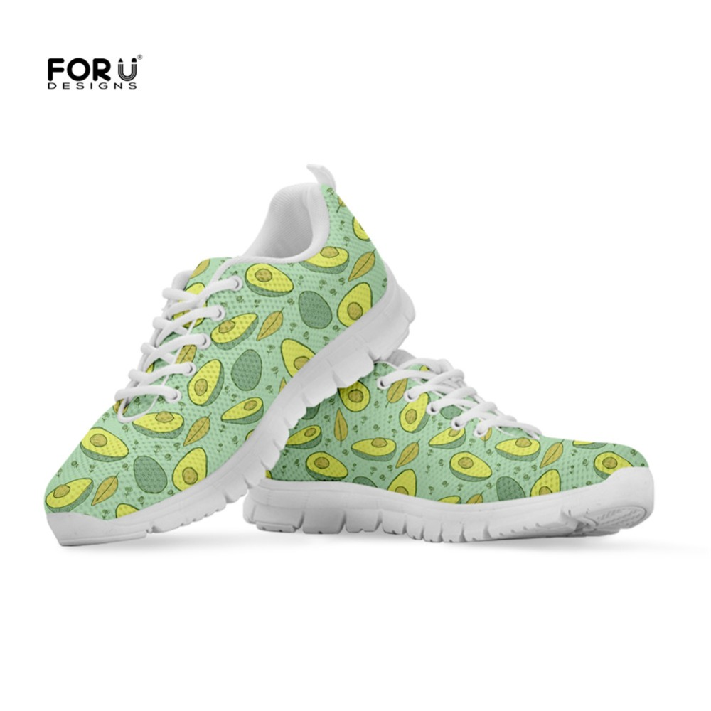 FORUDESIGNS Sneakers Women Fashion Avocado Prints Women's Flats Shoes Lace-up Comfortable Mesh Casual Shoes Woman Ladies Zapatos