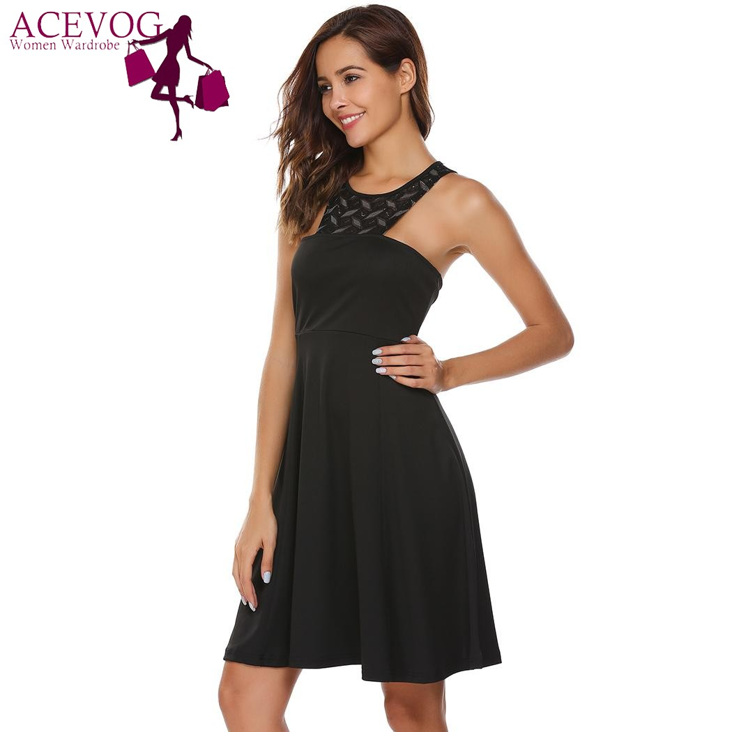 ACEVOG Women Sleeveless Lace up Halter Dress Sexy Summer Zip up Party  Feminino Vestidos Patchwork Knee Length Party Femme Robe -in Dresses from  Women s ... cf6913320