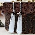 2 цветов 925 чистого серебра белый опал ювелирные изделия Богемия серьги длинные капли воды Природных полудрагоценных камней гранат серьги
