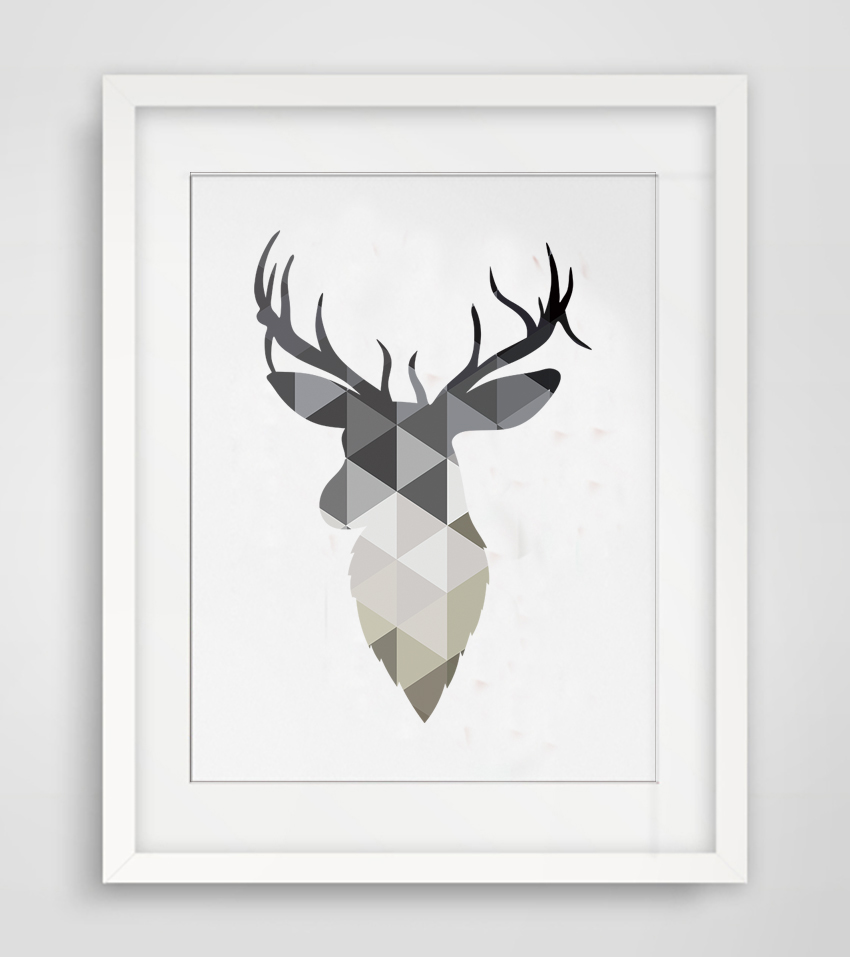 Cotill Geometric Deer Head Canvas Painting Pictures Wall Art ...