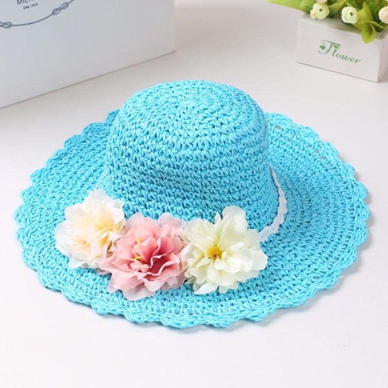 Модная летняя стильная цветная Цветочная широкополая пляжная шляпа с широкими полями для маленьких девочек, соломенная шляпа от солнца, 9 цветов - Цвет: Небесно-голубой