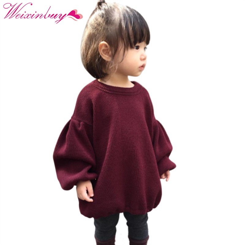 2017 Brands Baby Girls Pleated Sweaters For Girls Winter New Baby Girls' Long Sleeve Knitted Solid Red Sweater Clothes Kids stylish solid color lightweight pleated scarf for women