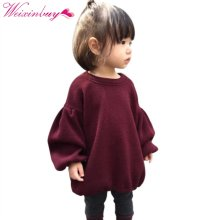 2017 Brands Baby Girls Pleated Sweaters For Girls Winter New Baby Girls' Long Sleeve Knitted Solid Red Sweater Clothes Kids(China)