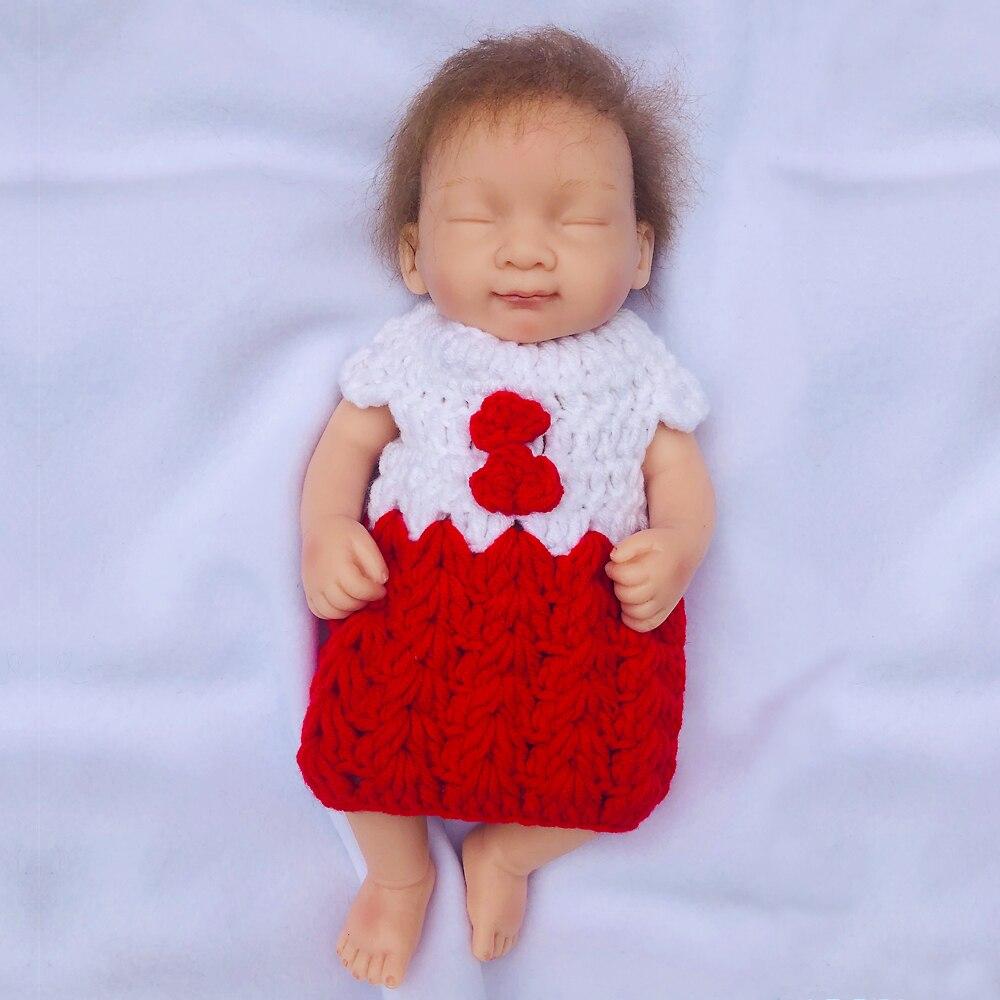Vraie touche pleine solide silicone Reborn poupée 10 pouces bebe Reborn bébé poupées Bonecas bain mignon réaliste jouet pour filles cadeau d'anniversaire