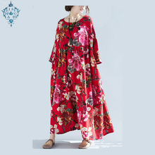 Ameision 2019 New Summer Casual loose Vintage Women dress Cotton Linen Big Size Printing long swing hem Dresses Vestidos Robe