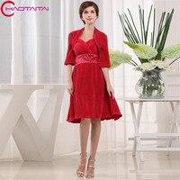 Из двух предметов красный по колено Для женщин платье для выпускного вечера Дизайнер Формальное праздничное платье мини леди Платья для ве