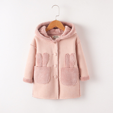 Baby girl jacket fashion suede plus velvet jacket children's long coat thick warm shirt children's clothing girls winter new