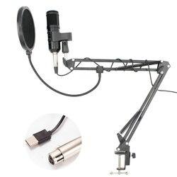 BM 900 Condenser USB Studio Microphone With Stand Tripod Pop Filter Mic For Computer Karaoke PC Adjustable volume BM 800