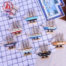 цены на LUCKK 14CM Mediterrean Style Wooden Model Ship Home Interior Decoration Wood Crafts Sea Sailboat Figurine Nautical Gift Souvenir в интернет-магазинах