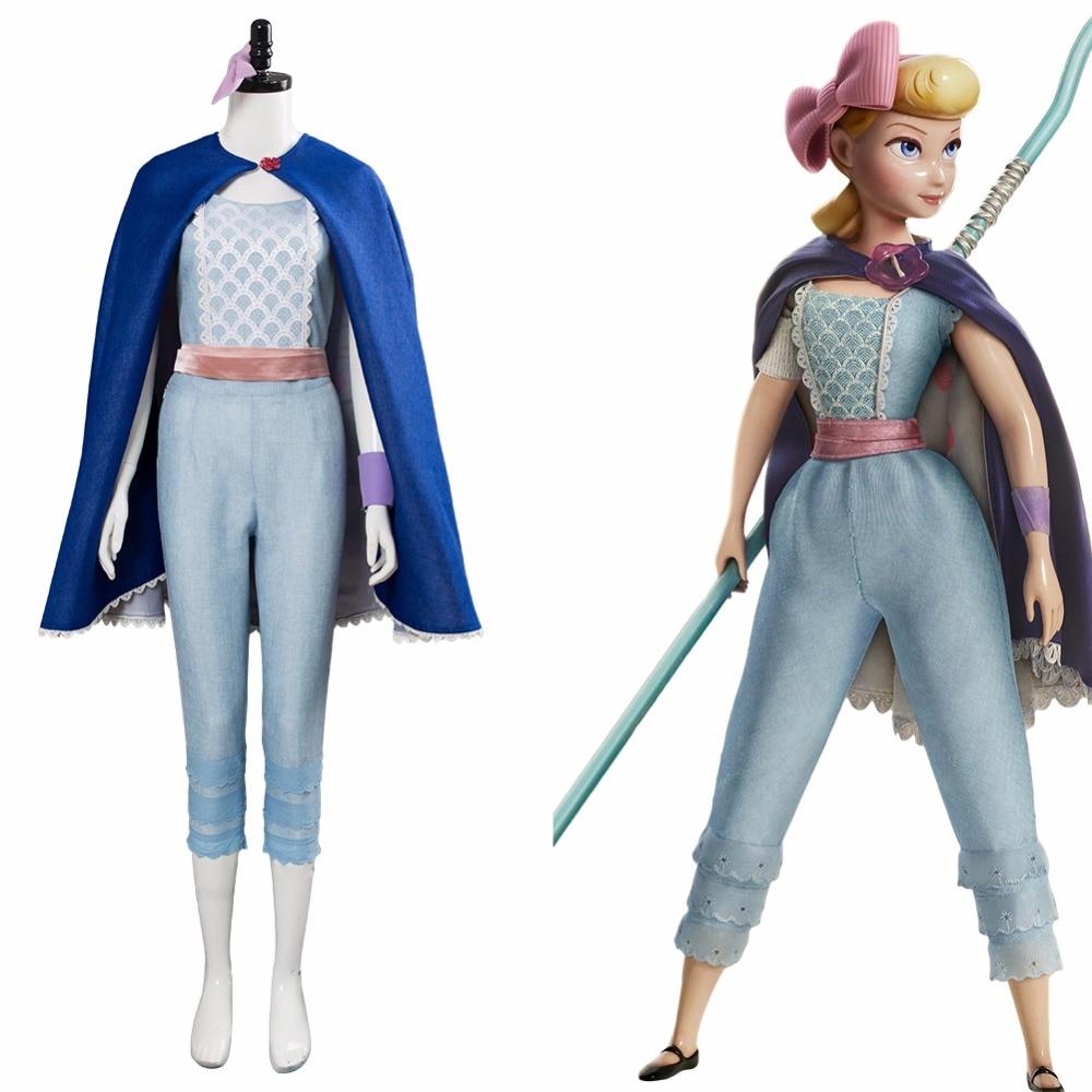 Toy Story 4 Bo Peep Cosplay Costume Dress Cloak Blue Suit