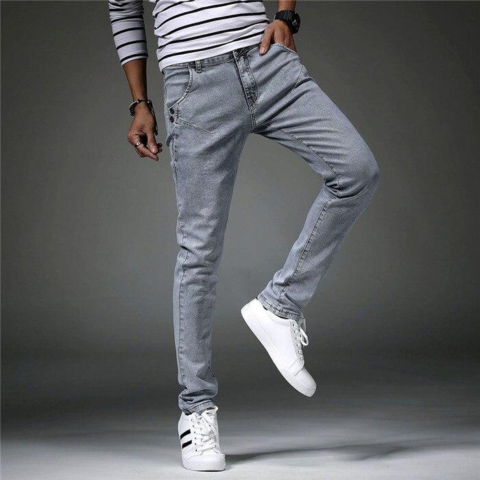 Men's Classic Jeans Pants Korean Style Gray Mens Skinny Jeans Men Slim Fit Stretch Trousers Men Denim Pants Calca Masculina Male