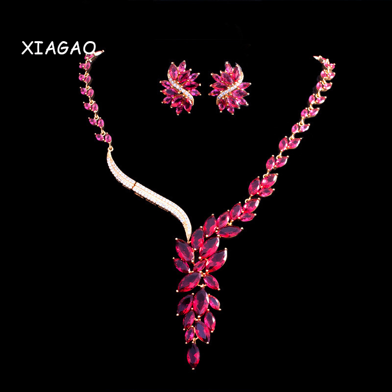 XIAGAO Luxury White Gold-color Elegant Shape Bridal CZ Necklace and Earrings Big Wedding Jewelry Sets For Brides