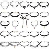 24pcs Package Integration Choker Necklace Boho Fashion Classic Punk Women Neck Jewellery Crystal Alloy Bead Necklace