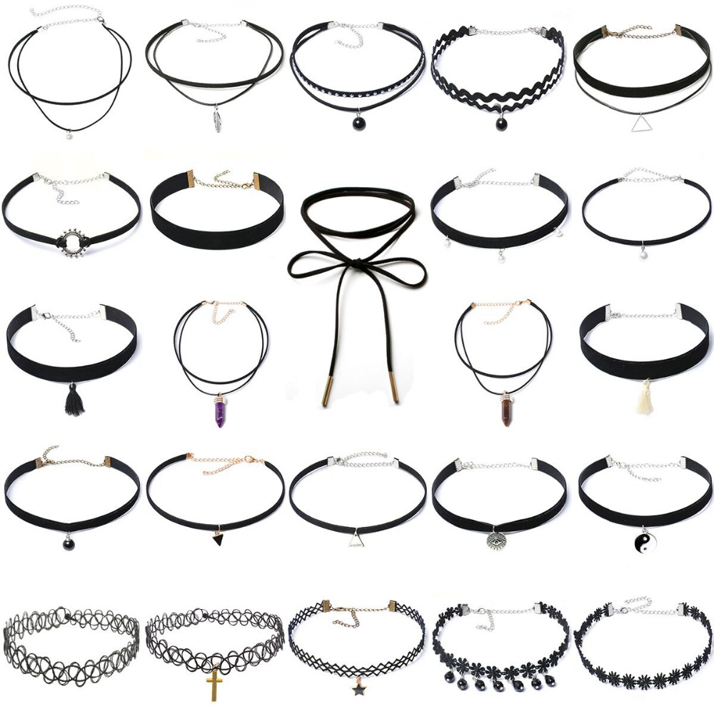 24pcs Multi Styles Choker Necklace Bohemia Fashion Classic Pendant Necklace Jewelry Crystal Alloy Velvet Neck Collar