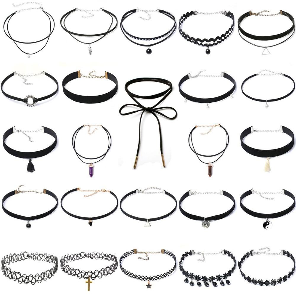 24st Multi Style Choker Halsband Böhmen Fashion Classic Hängsmycke Halsband Smycken Crystal / Alloy / Velvet Neck Collar för kvinnor