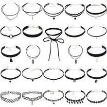 24pcs Multi Styles Choker Necklace Bohemia Fashion Classic Pendant Necklace Jewelry Crystal/Alloy/Velvet Neck Collar for Women