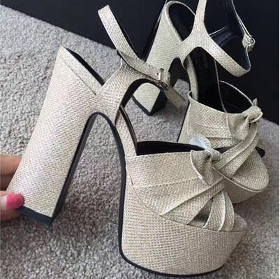 2018 New Arrival Hot Suede High Platform Chunky Heel Summer Women Sandals Bow Tie Ankle Buckle Shoes Woman Peep Toe Party crystal chunky heel sandals women summer t word buckle sweet rhinestone heel ladies sandals peep toe med heel woman shoes