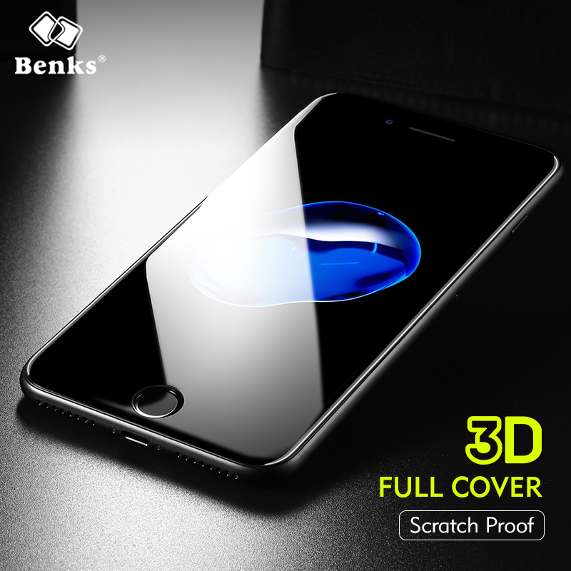 Benks High Configuration Sapphire Coating Tempered Glass For <font><b>iPhone</b></font> 8 7 Screen Protector Full Cover Border For <font><b>iPhone</b></font> 8 7 Plus