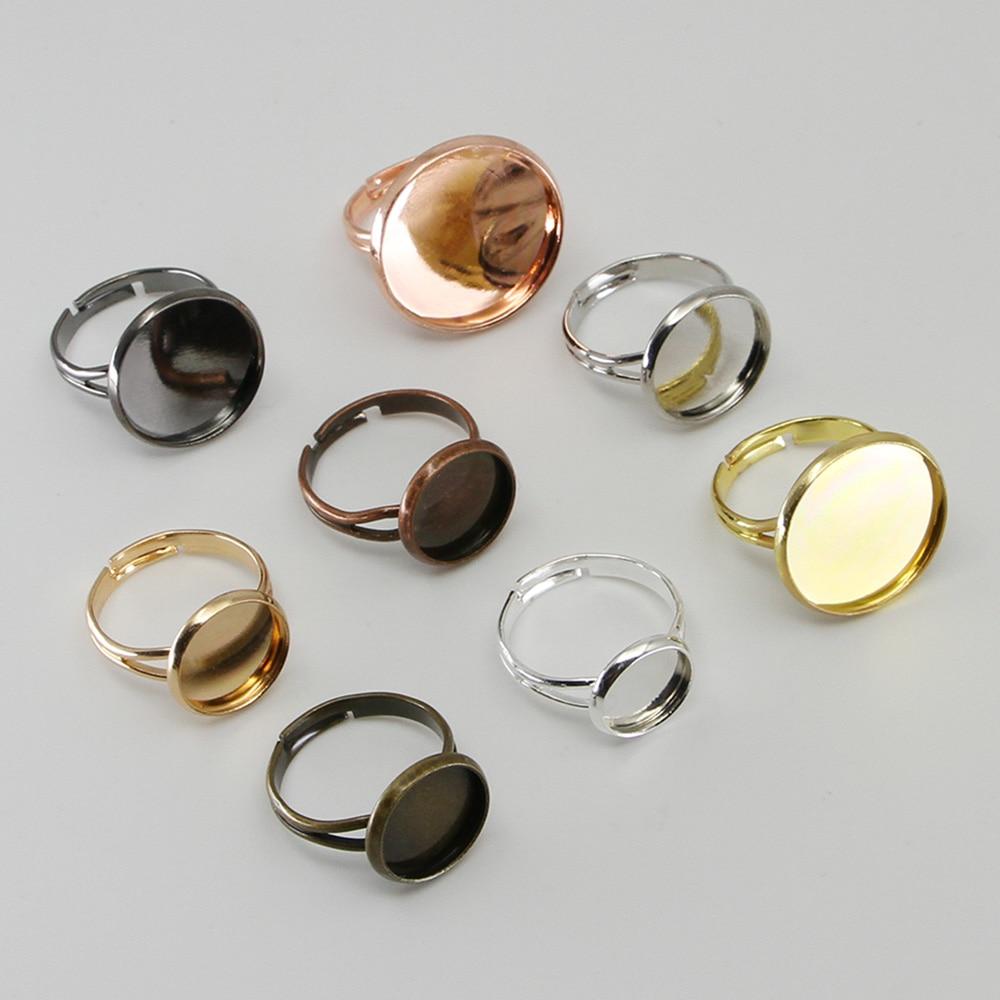 10 шт./лот Регулируемый основа для кольца базы Fit диаметр 10 12 14 16 18 20 25 мм Стекло Кабошоны Камея Настройки лоток Diy Ювелирное кольцо
