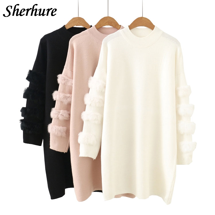 2018 Spring Fashion Design Oversize Women Sweater And Pullovers Cute Furry Sleeve Women Pink Sweater White Long Pullovers