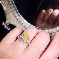 18 к белое золото 1ctw центр 1ct груша желтый Муассанит кольцо сбоку груша Турмалин одноцветное изысканное Золотое обручальное кольцо для женщи