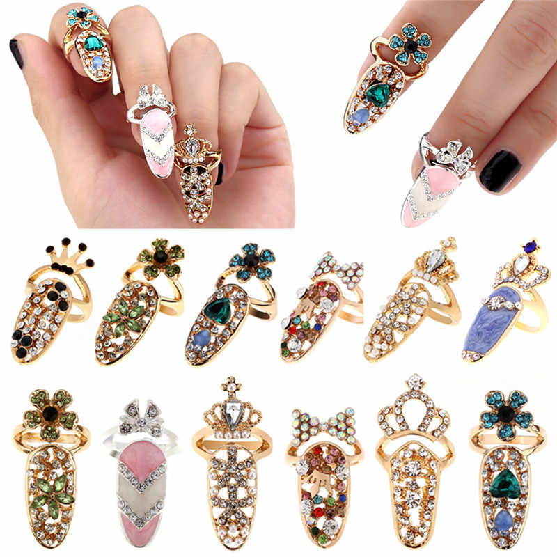 Fashion Jewelry Bowknot Nail Ring Charm Crown Flower Crystal Finger Nail Rings For Women Lady Rhinestone Fingernail Protective