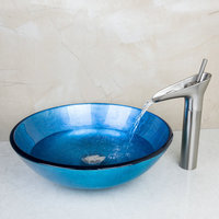 New Waterfall Contemporary 2014 New Washbasin Lavatory Tempered Glass Sink Bath 409496104 1Combine Brass Faucets Mixers