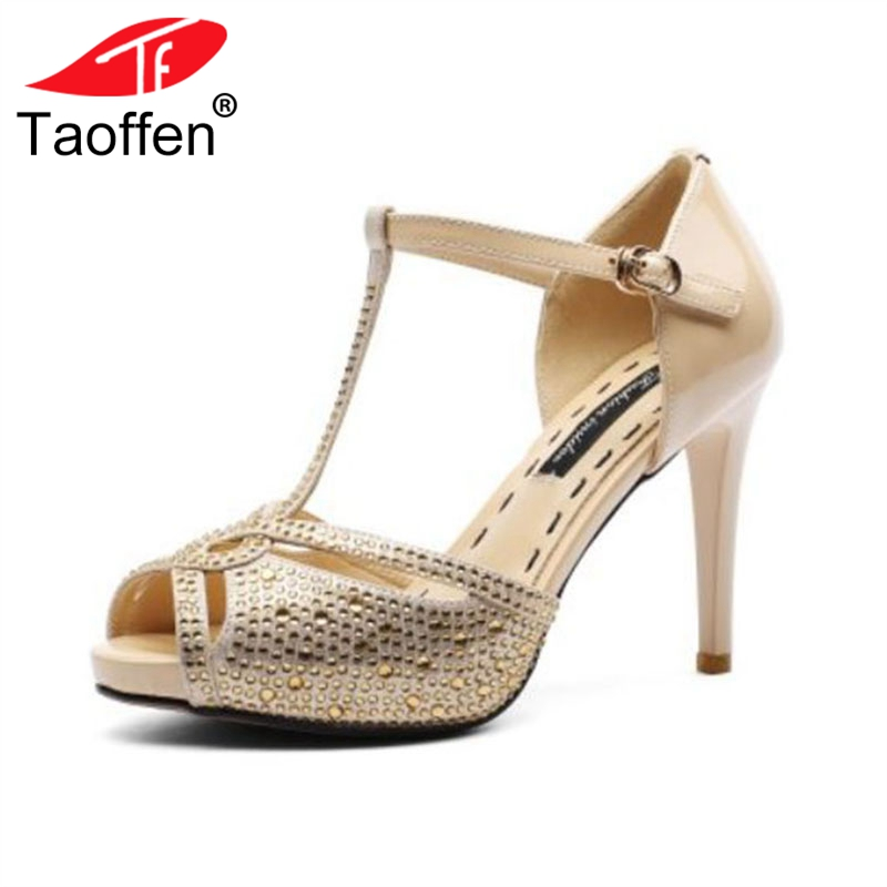 TAOFFEN Women High Heel Sandals Real Leather Genuine Leather Thin Heel T-Tied Peep-Toe Ladies Sandals Sexy Shoes Size 33-40 taoffen women high heels sandals real leather peep toe shoes women buckle clear thick heel sandals daily footwear size 34 39