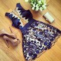 Verão das mulheres sexy lace floral ocasional curto partido mini dress (asiático tamanho s = ue eua tamanho xs)