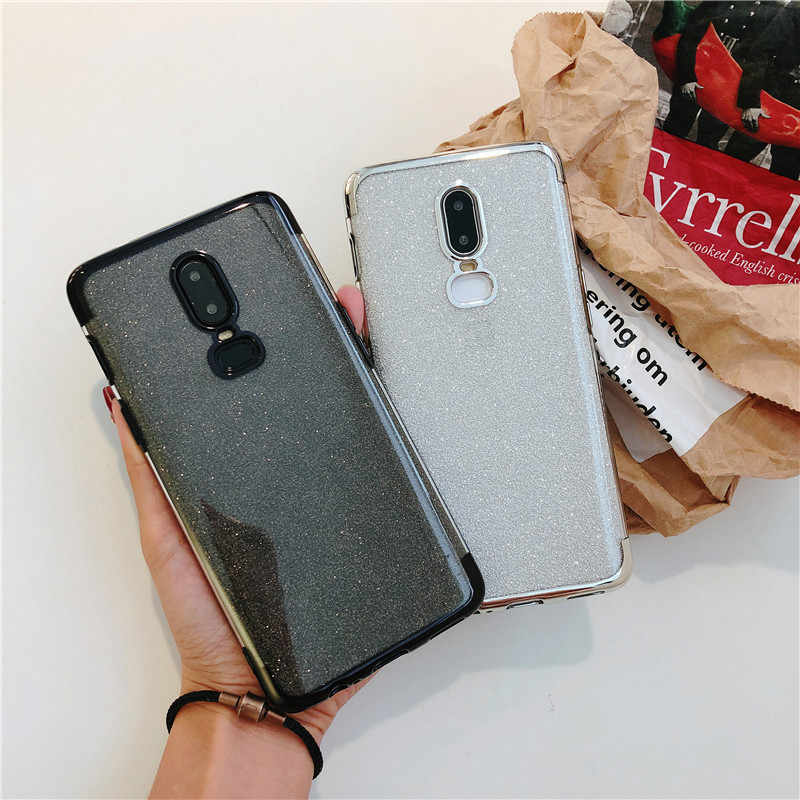 Luxury Cute Slim Glitter Silicone TPU Case For OnePlus 6 5T 6T 7 Pro Cover Soft Back Full Bling Bumper 2 in 1 Phone Cases