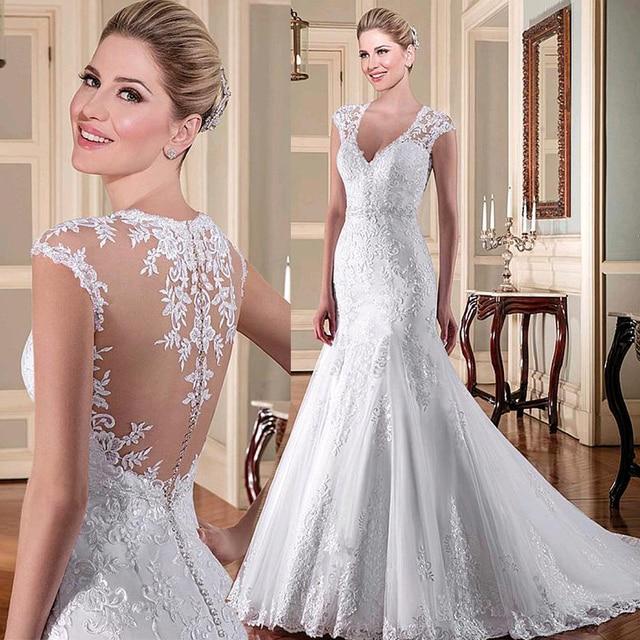 Tulle V neck Neckline Mermaid Wedding Dresses With Beadings Lace Applqiques Bridal Dresses Illusion Back