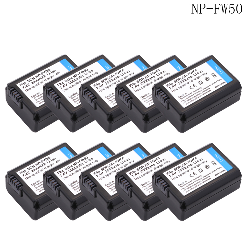 wholesale 10x bateria NP FW50 NP-FW50 Battery For Sony NEX-7 NEX-5N NEX-F3 SLT-A37 A7 NEX-5R NEX-6 NEX-3 NEX-3A 7R II Camera 2pc np fw50 np fw50 battery usb dual charger for sony a37 nex 5 nex 5a 5c nex 5d nex 5db 5hb nex 5k alpha 7r ii eu us ac adapter