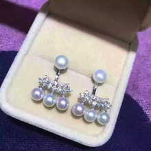 Eternal wedding Women Gift word 925 Sterling silver real Shin Min A with multiple rows of small pearl earrings and after hanging