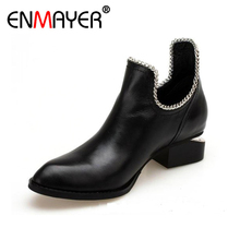 ENMAYER Women Ankle Boots Shallow Square Toe Pointed Toe Classic Black Brown Apricot Plus Size Women Shoes Charming Metal